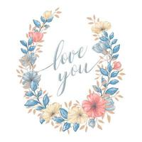 Floral love you watercolor style wreath vector