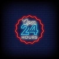 abierto las 24 horas letreros de neón estilo vector de texto