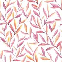 Seamless watercolor leaves pattern vector