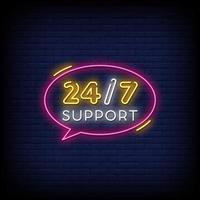 support Neon Signs Style Text Vector