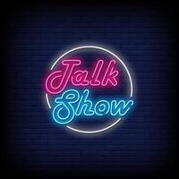 talk show letreros de neón estilo texto vector