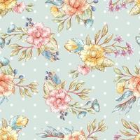 Watercolor style floral seamless pattern vector