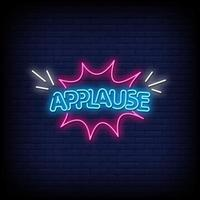 Applause Neon Signs Style Text Vector