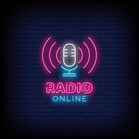 Radio Online Neon Signs Style Text Vector