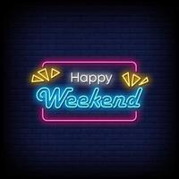 Happy Weekend Neon Signs Style Text Vector