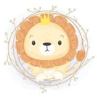 Adorable Lion illustration in watercolor style vector