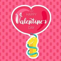 Happy Valentines Day greeting card color template vector