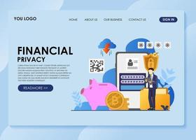 Business Man Financial Privacy landing page vector