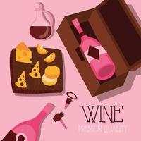 wine premium quality poster with bottle and cheese vector