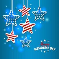 Memorial Day illustration with star in national flag colors vector