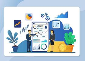 Business analysis financial concept with characters. vector