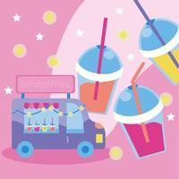cute kawaii design with smoothie truck vector
