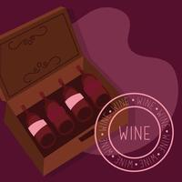 wine premium quality poster with bottles in a box vector