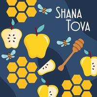 shana tova lettering with apples and bees pattern vector