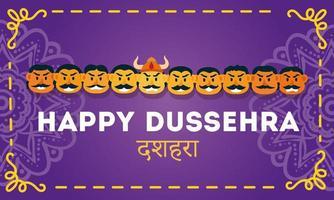 happy dussehra celebration lettering with demon ravana of ten heads vector