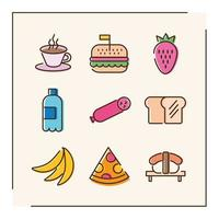 bundle of nine food icons vector
