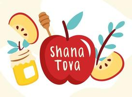 shana tova lettering with apples fresh fruits and honey vector