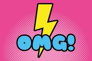 omg word pop art style icon