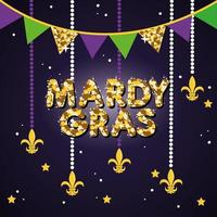 Mardi Grass celebration poster with garland and lettering vector