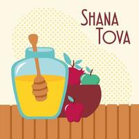 shana tova lettering with honey sweet pot and fruits in bowl vector