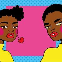 joven mujer afro pareja amigos estilo pop art vector