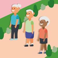 ancianos interraciales caminando al aire libre, personajes de personas mayores activas