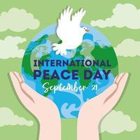 letras del día internacional de la paz con paloma y manos levantando el planeta tierra vector