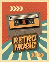 old retro cassette tape poster vector
