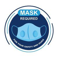 mask required circular label with lettering