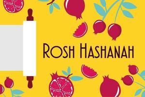 happy rosh hashanah celebration with pomegranates and parshment vector
