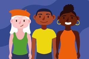grupo de personas interraciales, concepto de inclusión vector