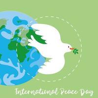 letras del día internacional de la paz con paloma y planeta tierra vector