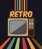 cartel de tv retro antiguo vector