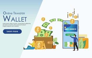 Online Money Tranfer Wallet illustration concept vector