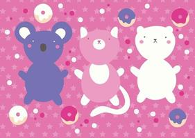 cute kawaii design with animals and donuts vector