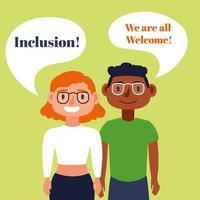 Inclusion concept lettering with interracial couple speaking vector