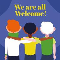 we are welcome lettering with interracial men vector