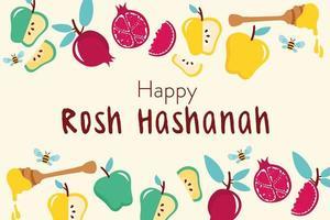 happy rosh hashanah celebration with fruits frame vector