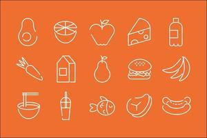 paquete de quince iconos de comida en un fondo naranja vector