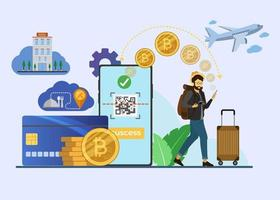 Photographer Travel Payment Digital Currency illustration vector
