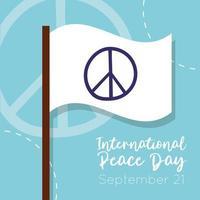 letras del día internacional de la paz con bandera blanca vector