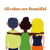 todos los colores son hermosas letras con amigos interraciales vector