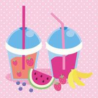cute kawaii design with smoothies fruits vector