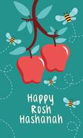 happy rosh hashanah celebration with apples and bees flying vector