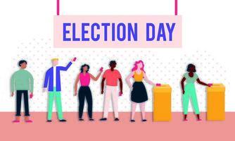 democracia del día de las elecciones con votantes y urnas vector