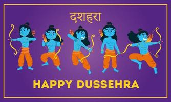 happy dussehra lettering with lords rama blue characters vector