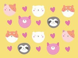 cute kawaii postcard with little animals heads