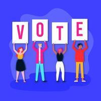 banner del día de las elecciones con personas con carteles vector