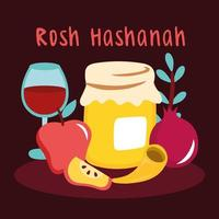 happy rosh hashanah celebration with fruits and wine cup vector