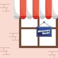 Welcome back reopening sign hanging in a store window vector